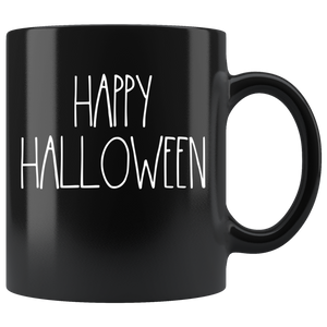 """HAPPY HALLOWEEN"" (White) Farmhouse Large Letter Halloween Mug"