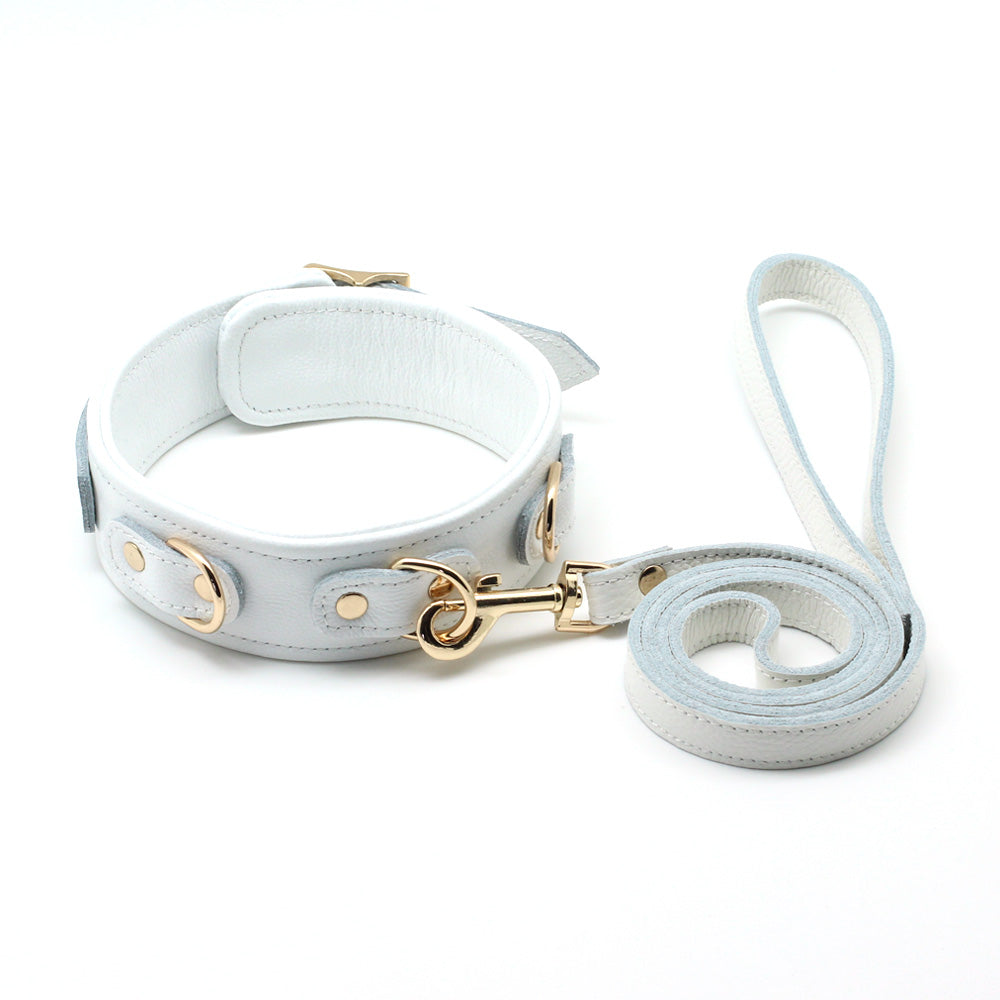 White Liebe - White Cow Leather Collar and Leash With Golden/Sliver Metal Hardware (3 D-rings, 2 Metal Color Options) + Free Gifts