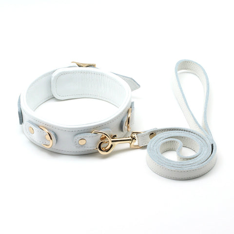 White Cow Leather Collar and Leash With Golden/Sliver Metal Hardware (3 D-rings, 2 Metal Color Options) + Free Gifts
