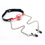 Silicone Ball Gag and Nipple Clamps with Leather Collar (more colors)