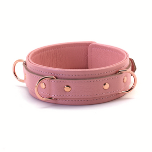 Pink Leather 3 D-rings Collar With Leash + Free Gifts