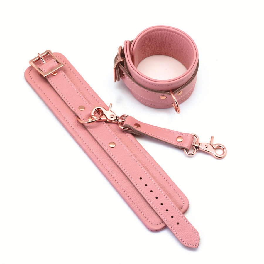 Pink Leather Anklecuffs with Leather Connector