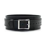 Black Cow Leather Collar With Silver Metal Leash (3 D-rings) + Free Gifts
