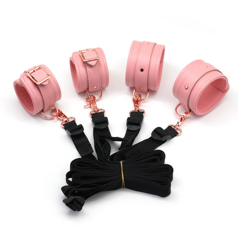Pink Leather Under The Bed Restraints Bondage Set + Free Gifts