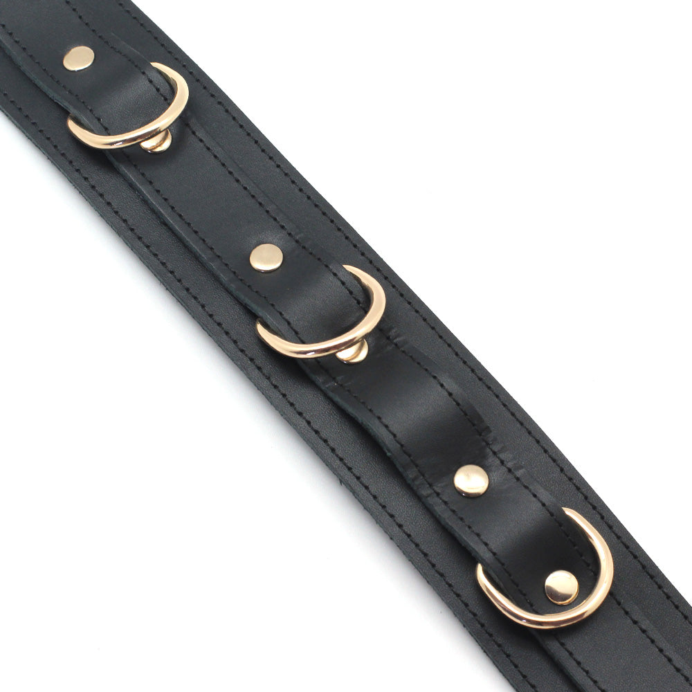Black Cow Leather Collar With Golden Metal Leash (3 D-rings) + Free Gifts