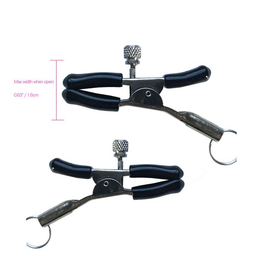 Black leather Collar and black beaded Nipple clamps (silver)
