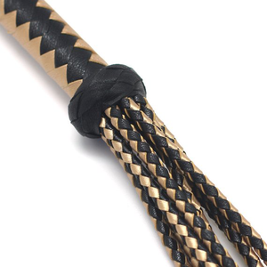 "30"" Leather Black and Gold Cat O Nine Tails Flogger"