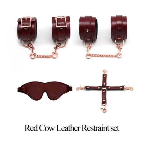 Red cow leather set (4 piece)