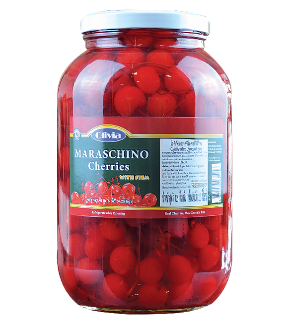 Olivia Maraschino Cherries With Stem 4.25 Kg