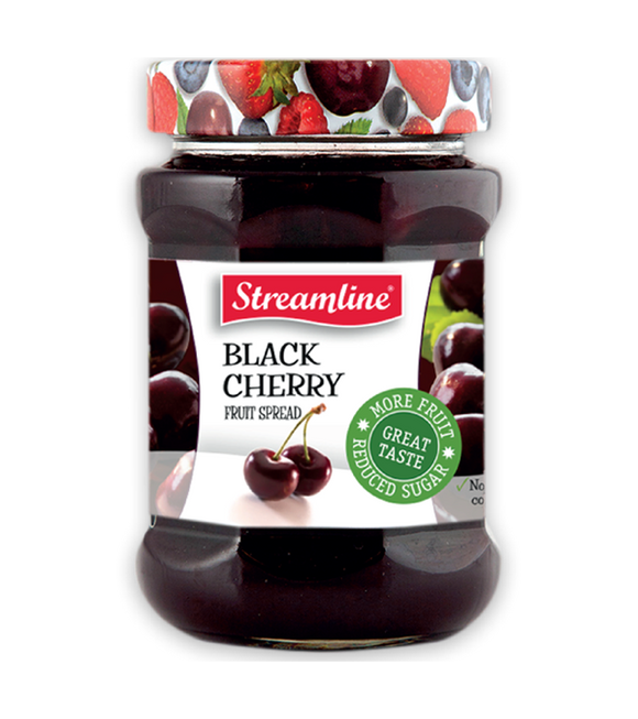 Streamline Black Cherry Reduced Sugar Jam 340G