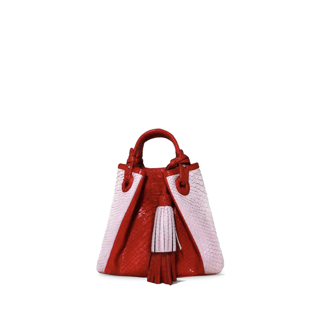 handcrafted_exotic_leather_python_skin_top handle_bag_Robert_Baby_Pink/Red