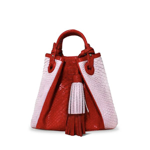 handcrafted_exotic_leather_python_skin_top handle_bag_Robert_Pink/Red