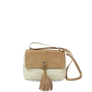 handcrafted_exotic_leather_python_skin_crossbody_bag_Olivier_w/_Pompon_Camel_Python/Beige