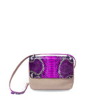 handcrafted_exotic_leather_python_skin_crossbody_bag_Olivier_Fuchsia_Motif_Python/Beige