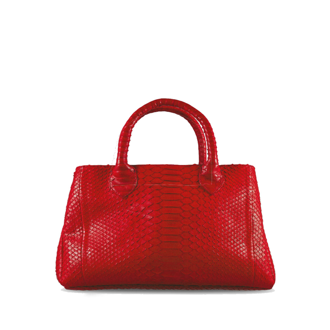 handcrafted_exotic_leather_python_skin_top handle_bag_Barnabé_Red