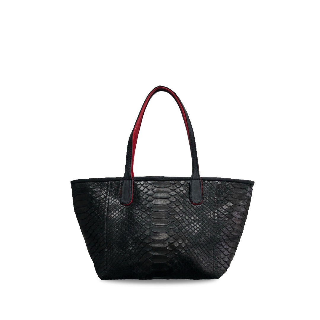 handcrafted_exotic_leather_python_skin_top handle_bag_Emmanuel_Baby_Black