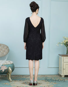 Long Sleeve Knee-Length Black Mother of The Bride Dresses