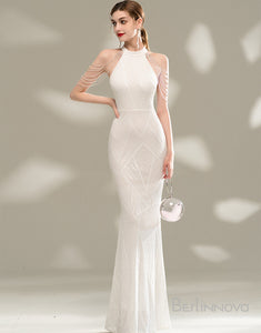 Mermaid Long White Evening Dress with Sequins