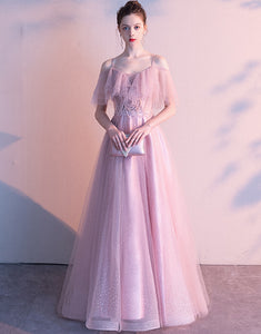 Pink Long A-Line Evening Dress with Sequins
