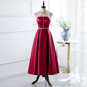 Red A-Line Round-Neck Evening Dress with Beading