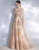 Champagne A-Line Wedding Party Dress with Appliques