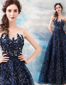 A-Line Round Neck Sleeveless Enening Dress with Appliques