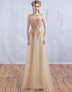 Champagne A-Line Round-Neck Chiffon Wedding Party Dress
