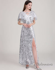 Long Silver V-Neck Tassel Sequins Prom Dress with Split