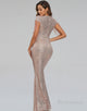 Mermaid V-Neck Long Evening Dress with Sequins