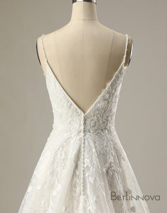A-line Spaghetti Strap Applique Wedding Dress