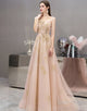 A-Line Tulle Long Champagne Wedding Party Dress