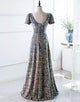 A-Line Square Long Evening Dress with Sequins