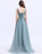 A-Line V-Neck Blue Chiffon Long Evening Dress with Appliques