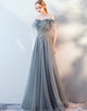 Long A-Line Off-the Shoulder Grey Evening Dress with Appliques