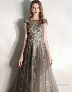 A-Ling Grey Chiffon Long Evening Dress with Appliques