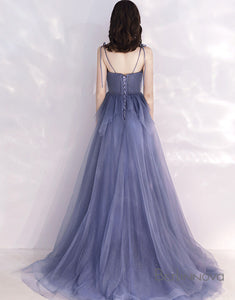 Delicate Bridesmaid Dress V-Neck Indigo Long Wedding Party Dress