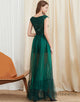 Green A-Line Round-Neck Prom Dress with Sequins