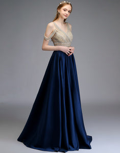 A-Line V-Neck Long Satin Evening Dress with Sequins