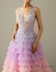 A-Line V-Neck Backless Applique Gradient Tulle Prom Dress