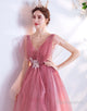 Pink A-Line V-Neck Sequins Long Wedding Party Dress
