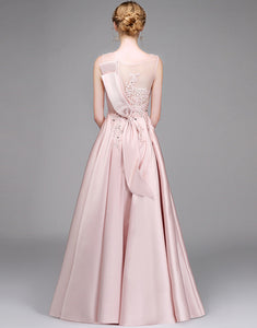Long Pink Satin V-Neck Evening Dress with Appliques
