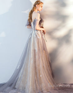 A-Line Off-the -Shoulder Long Evening Dress with Appliques