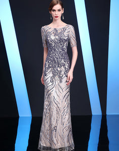 Long Sheath Round Neck Evening Dress with Sequins