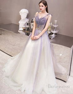 A-Line Long Tulle Wedding Party Dress with Beading