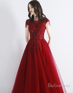 A-Line Red Tulle Evening Dress with Appliques