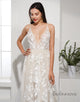 V-Neck Applique Long Wedding Dress