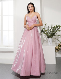 A-Line Glitter Knit Prom Dress Strapless Evening Dress