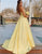 A-Line Satin Spaghetti Straps Long Prom Dress with Beading Pockets
