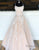 Princess Long Light Champagne Prom Dress with Appliques