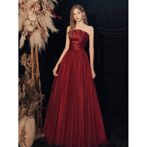 A-Line Strapless Red Wine Wedding Party Dress